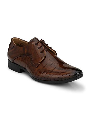 LEVANSE Men's Tan Synthetic Leather Patent Shoes