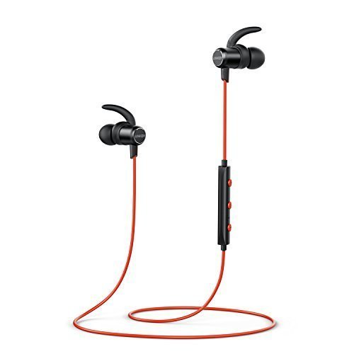 Anker SoundBuds Slim Wireless Headphones, Bluetooth 4.1 Lightweight Stereo Earbuds with Magnetic Connection, NANO Coating Sweatproof Sports Headset with Metallic Housing & Built-in Mic (Red)