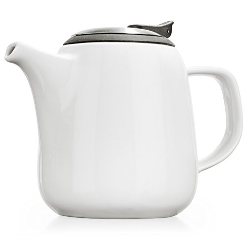 Tealyra - Daze Ceramic Teapot in White - 24-ounce (2-3 cups) - Small Stylish Ceramic Teapot with Stainless Steel Lid and Extra-Fine Infuser To Brew Loose Leaf Tea - Dishwasher-safe - BPA and Leed-Free