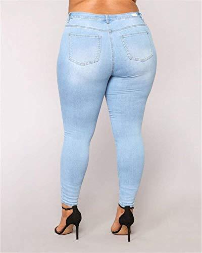 Pantalones Manera Vaqueros Lápiz Moda Hellblau Stretch Las De Huixin Cómodos Con Del Señoras La Los Bolsillos pTdqpzw