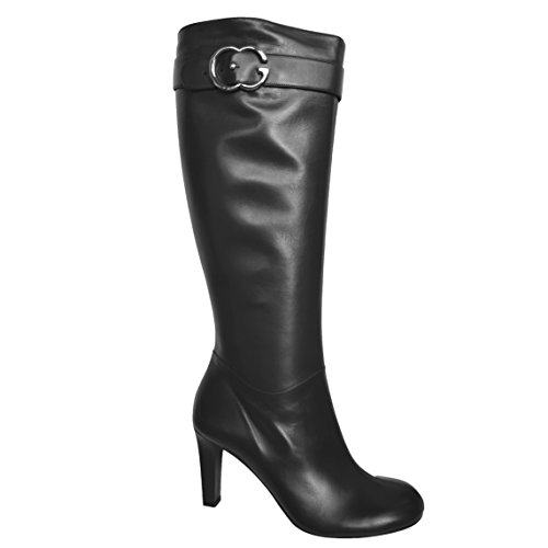Gucci Sport Shoes (Gucci Boots Interlocking G Leather Riding Mid-heel Tumbled GG Metal Logo Leather (9.5 (39.5), Black))