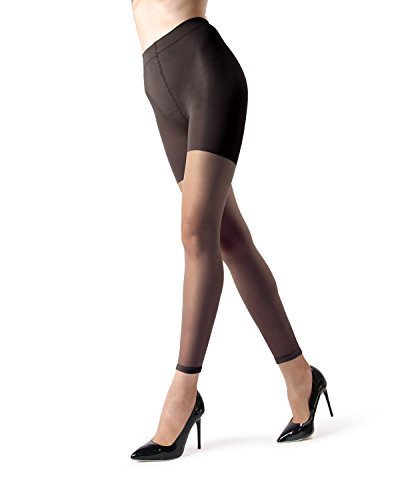 (MeMoi Sheer Footless Capri Shaping Tights | Sheer Tights Black MM 226 Small)