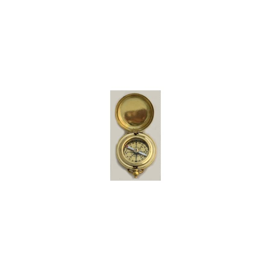 """1 3/4"""" Brass Face Pocket Compass w/Cover: Hiking and Camping"""