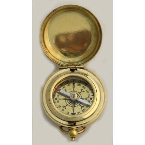 "1 3/4"" Brass Face Pocket Compass w/Cover: Hiking and Camping"