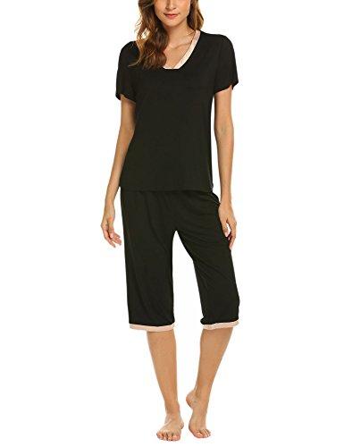 Pajama Capri Bottoms - Ekouaer Women's Pjs Set Soft Cotton Sleepwear Pajama Plus Size, Black, X Large
