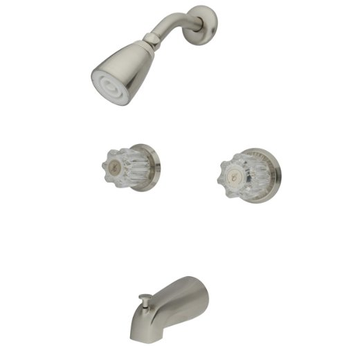 Kingston Brass KB148 Twin Acrylic Handle Tub and Shower Faucet, Satin Nickel good