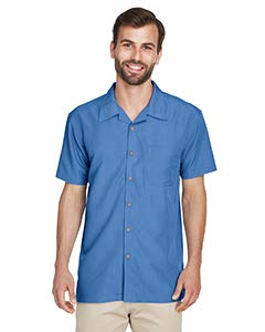 Harriton mens Barbados Textured Camp Shirt(M560)-POOL BLUE-2XL