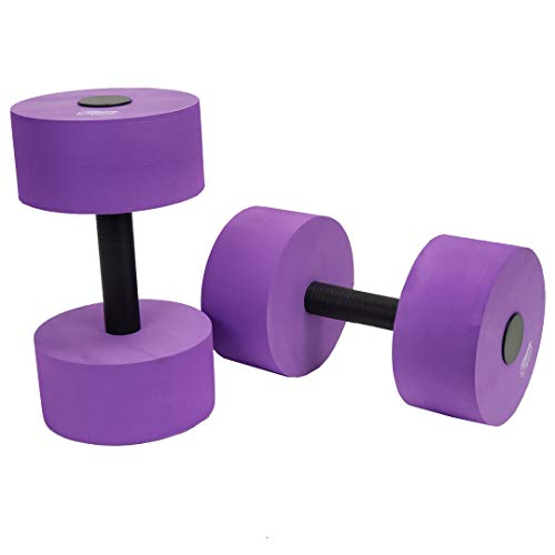 Sunlite Sports High-Density EVA-Foam Dumbbell Set - Soft Padded - Water Aerobics, Aqua Therapy, Pool Fitness, Water Exercise - Advanced Size (Purple, Large)