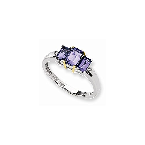 Sterling Silver & 14k Gold Gold Iolite Natural Diamond Ring ()