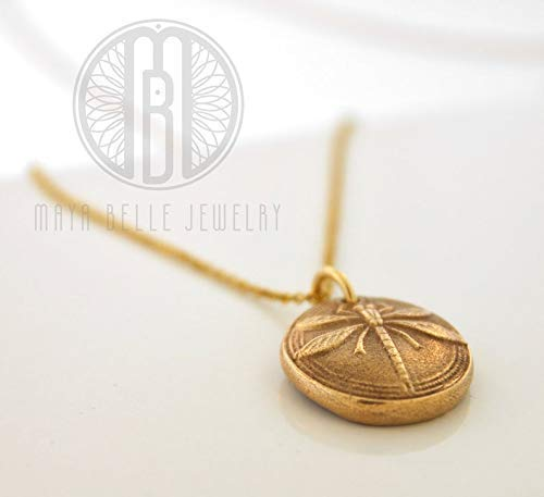 Handmade gold DRAGONFLY necklace on 14k gf adjustable chain