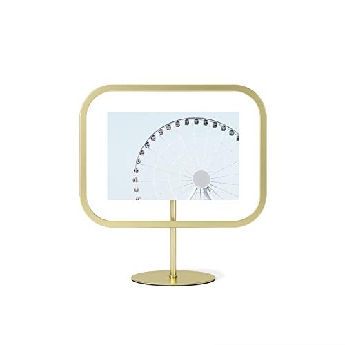 Umbra Infinity Picture Frame, Floating Photo Display for Desk or Wall, 4x6 Inch (10x15cm), Matte Brass
