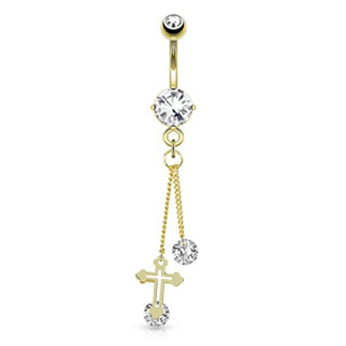 Cross Round CZ Freedom Fashion 316L S. Steel Gold Plated Navel Ring