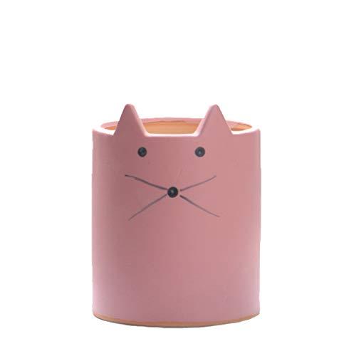 YOURNELO Crude Pottery Cute Animal Plant Flower Pot Succulent Planters Vase (Cat 6 Light Pink)