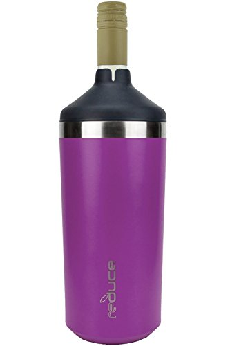 Portable Wine Bottle Cooler by REDUCE - Stainless Steel, Insulated Chiller to Keep Wine at the Perfect Temperature, No Ice Required - Ideal for Outdoor Summer Parties, Fits Most Wine Bottles - Purple