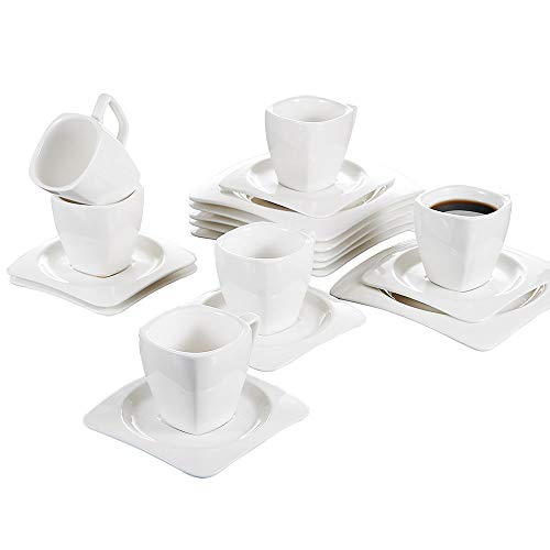Malacasa 18 Pieces Porcelain Cups with Saucers Dessert Plates, Cappuccino 6.7 Ounce Cups with 7.25 Inch Snack Plate 5.5 Inch Saucer Coffee Drinks, Latte, Cafe Mocha and Tea - Set ()