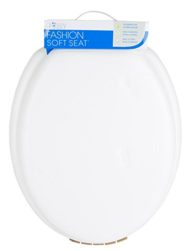 - Ginsey Elongated Soft Toilet Seat with Plastic Hinges, Desert White