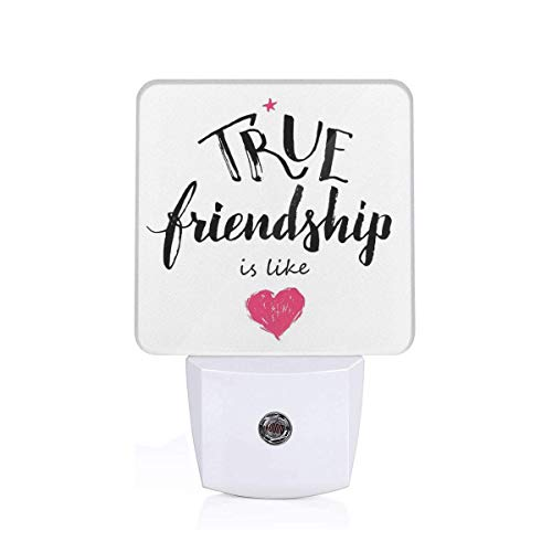 (Colorful Plug in Night,True Friendship is Like Lettering Completed by Pink Scribbled Heart Icon,Auto Sensor LED Dusk to Dawn Night Light Plug in Indoor for Childs Adults)