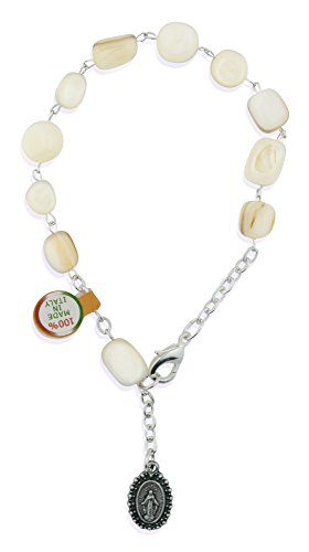 Catholic One Decade Rosary Bracelet with Natural Stone Beads (White)