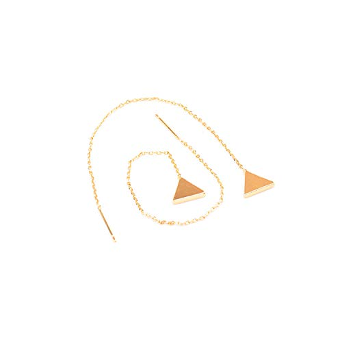 Popular 2019 1 Pair Women Gold Silver Long Chain Ear Threader Drop Dangle Earrings Jewelry Gold Trian from JITALFASH Earrings