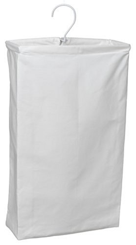 Household Essentials 148 Hanging Cotton Canvas Laundry Hamper Bag | White (Baskets That Hang On The Wall)