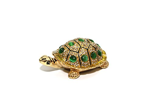 Turtle Crystal Swarovski (Decorative Enameled Figures, 24K Gold Trinket Jewelry Box with Swarovski Crystal, Hand-made (Turtle))