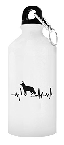 German Shepherd Gifts for Women Dog Lover Heartbeat German Shepherd Themed Gifts Dog German Shepherd Lover Gift 20-oz Aluminum Water Bottle with Carabiner Clip Top White