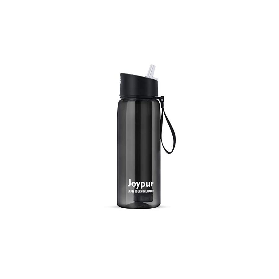 Joypur Filtered Water Bottle with Filter 4 Stage Integrated Filter Straw for Camping Hiking Backpacking and Travel (Extra Filter Squeeze Kit)