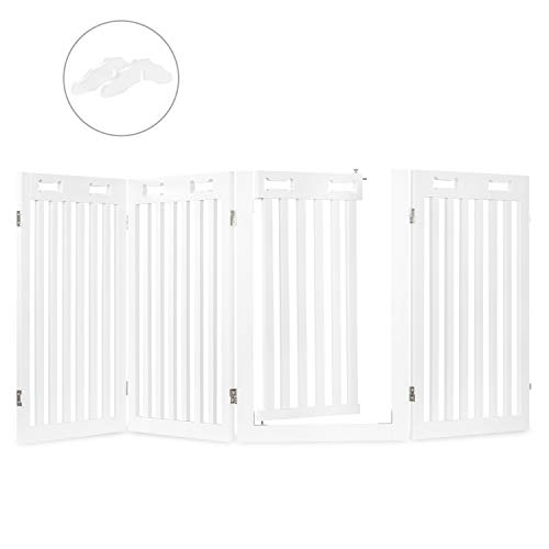 Arf Pets Freestanding Dog Gate with Walk Through Door, 4 Pannel, Expands Up to 80