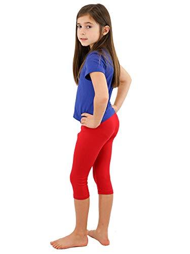 Vivian's Fashions Capri Leggings - Girls, Cotton (Red, Large) ()
