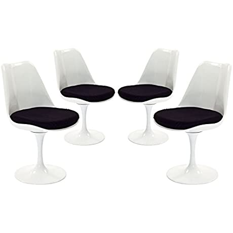 Modway Lippa Modern Dining Four Side Chair Set With Fabric Cushions In Black
