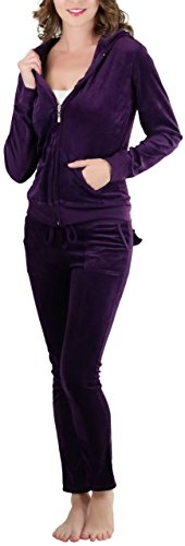 ToBeInStyle Women's Velour Tracksuit Zip-Up Hooded Jacket and Matching Pants (3X, Dark Purple)