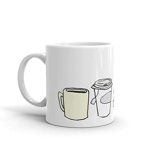 - Cups pen drawing 11 Oz White Ceramic