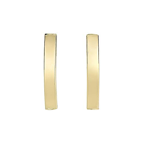 14K Yellow Gold 26.3x3.9mm Long Slitely Curve Square Tube Rectangle Post Earrings Push Back by IcedTime