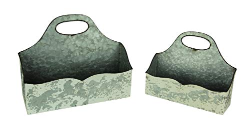 Vintage White Galvanized Metal Rustic Curved Wall Pocket Set of 2 from PD Home & Garden