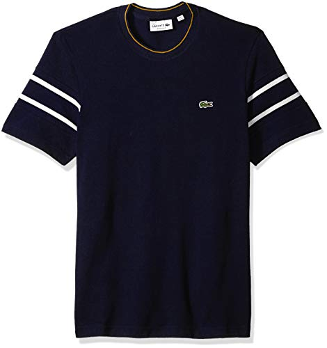 Lacoste Men's Short Reg Fit Striped Sleeve Pique Tee, Meridian Blue/Flour/Pomel, ()