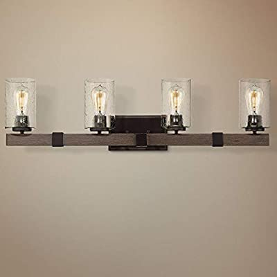 "Poetry Rustic Industrial Wall Light Wood Grain Bronze Hardwired 34"" Wide 4-Light Fixture Clear Seedy Glass for Bathroom Vanity Mirror - Franklin Iron Works"
