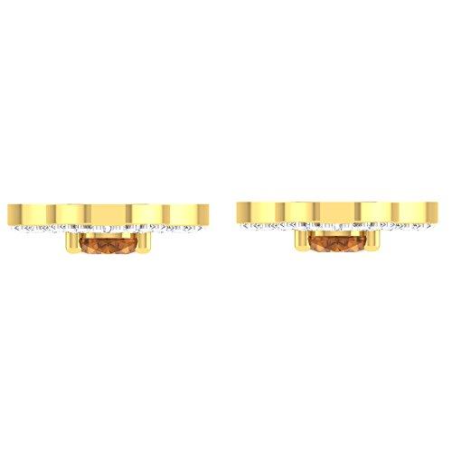 Libertini Boucle d'oreille argent 925 plaque or Jaune serti de Diamant et Citrine