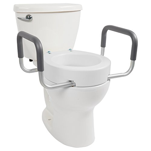 Toilet Seat Riser by Vive (Elongated) - Raised Toilet Seat with Handles for Handicapped - Medical Handicap Bathroom Safety Chair - Portable, High and Elevated Lifter Extender Commode for (Raised Toilet Seat Handles)