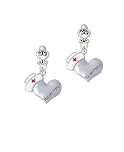 Nurse's Prayer Heart - Healing Hand - Filigree Heart Earrings