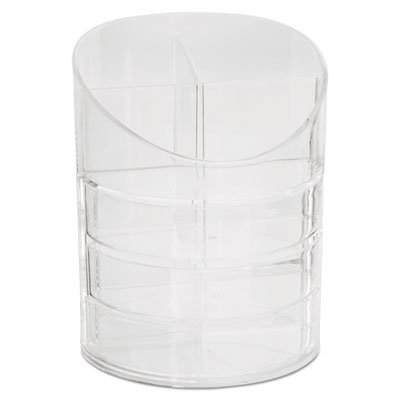 Small Storage Divided Pencil Cup, Plastic, 4 1/2 dia. x 5 11/16, Clear, Sold as 1 Each (Holder Business Pencil Rubbermaid)