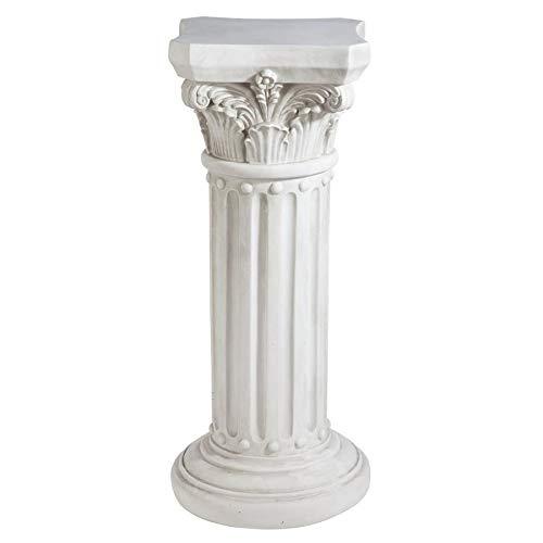 Design Toscano KY60748 Athena Corinthian Furniture Pedestal Column Plant Stand, 33 Inch, Antique Stone