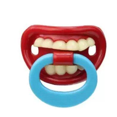 jellbaby silicona chupete beb/é chupete beb/é conejo dientes Funny Buck dientes los chupetes chupete divertido bigote Red 3 Talla:5.2*3.2