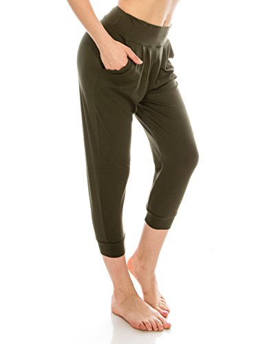 EttelLut Harem Jogger Yoga Exercise Loose Fit Casual Womens Harem Pants with Side Pockets Olive M
