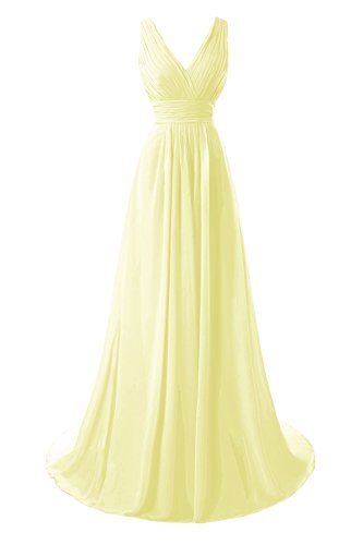 - Bess Bridal Women's V Neck Chiffon Ruched Formal Bridesmaid Dresses Daffodil