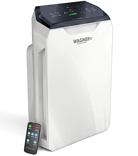 - WAGNER Switzerland Assembled in USA i-Scense Air Purifier HM886 for Rooms up to 500 sq.ft Removes 99.97% of Mold Odors, Dust, Smoke, Allergens and Germs, True HEPA Filter 5-Stage Purification,
