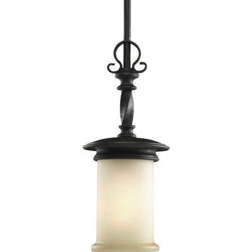 Progress Lighting P5076-80 1-Light Mini-Pendant with Jasmine Mist Glass Enhanced By Subtle Forged Iron Twists, Forged Black by Progress ()
