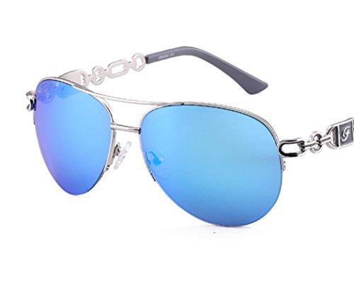 sol cristal Gafas mujer de polarizadas espejo de Gafas moda estilo de sol azul de gafas Sol sol protección de sol con piloto de aviador espejo aviador polarizadas Gafas Cristal Azul UV400 polarizadas Gafas de 1qY8Inw