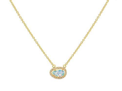 FRONAY 14K Gold Plated Silver Minimalist Created Opal Halo CZ Pendant Necklace, Extender from Fronay Silver Collection