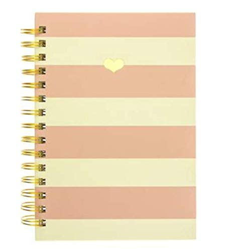 """Graphique Pink Charm Hard Cover Journal, 160 Ruled Pages, Stately Pink and White Stripes & a Gold-Embossed Heart, 6.25"""" x 8.25"""" x 1"""""""