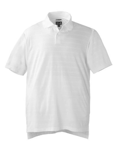 (Adidas ClimaCool Men's Mesh Solid Textured Polo Shirt - WHITE - Large)